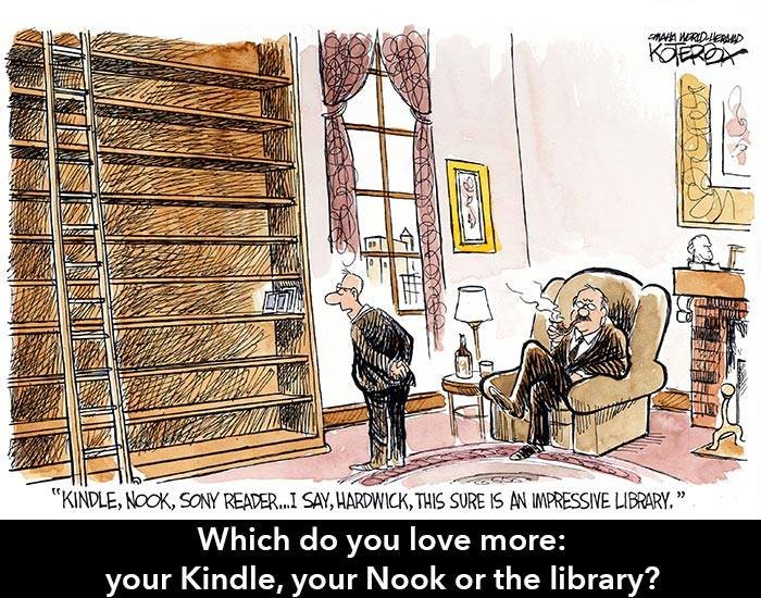 Cartoon depicting two old gentlemen surveying empty booksheves, that contain only a few electronic reading devices.