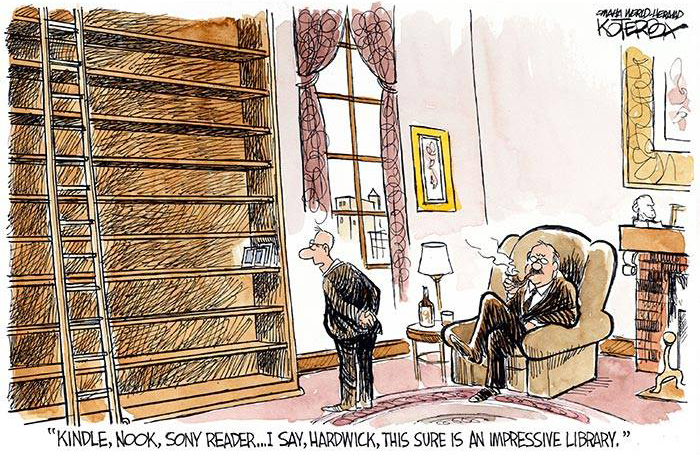 Cartoon of two gentlemen observing an almost empty bookcase, in which there are only three electronic reading devices.
