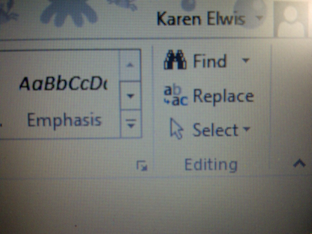 Find and replace editing icons