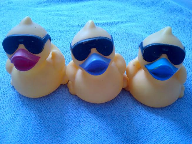 Three ducks wearing dark glasses - sitting in a row. Who are you?